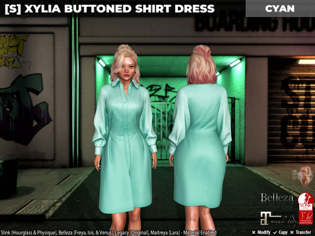 [S] Xylia Buttoned Shirt Dress Cyan