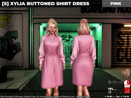 [S] Xylia Buttoned Shirt Dress Pink