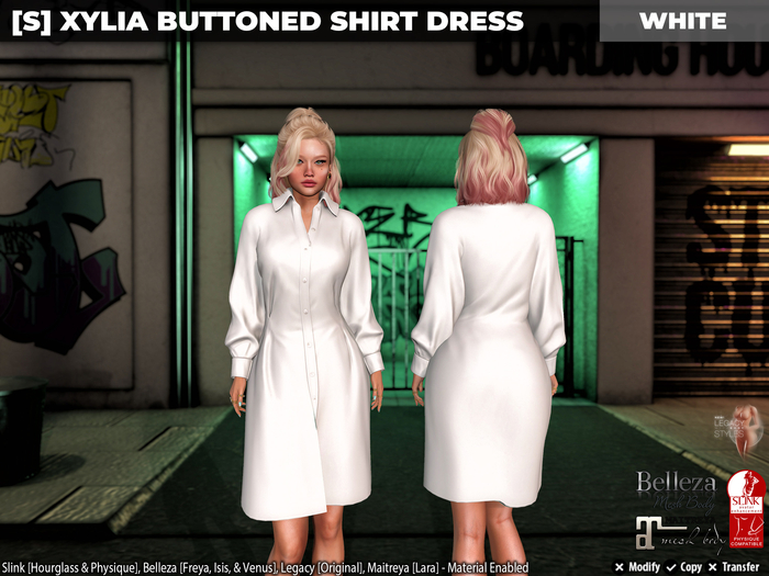 [S] Xylia Buttoned Shirt Dress White