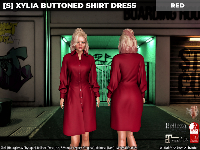 [S] Xylia Buttoned Shirt Dress Red