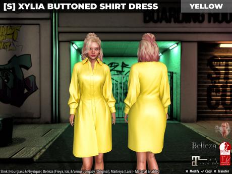 [S] Xylia Buttoned Shirt Dress Yellow