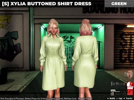 [S] Xylia Buttoned Shirt Dress Green