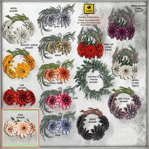 *LODE* Head Accessory - Dahlia Wreath [ash violet]