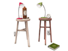 Dutchie two color changeable mesh bedside tables with lamps, bottle, alarm clock and book