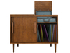 Dutchie mid-century modern media console with records and color changeable vintage record player