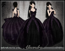 [Wishbox] Dark Alisandra - Gothic Wedding Gown Dress (Black & Purple)