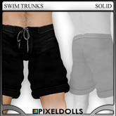(PixelDolls) . Swim Trunks . Solid . Black