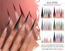 "[LERONSO] Mesh stiletto nails ""Eclipse"""