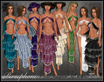 [Wishbox] Persephone - Belly Dance Silks - 9 Color Megapack - Gypsy Kajira Genie Medieval Fantasy Set