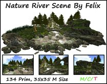 Nature River Scene by Felix ( for grotto cave landscaping waterfall forst tree plant rock )