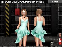 [S] Zori Diagonal Peplum Dress Cyan