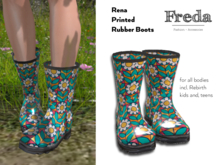 """""""Freda"""" Rena Rubber Boots, 70s flower print Daisies, glossy water proof Rain and Garden Shoes, unrigged for all Bodies"""