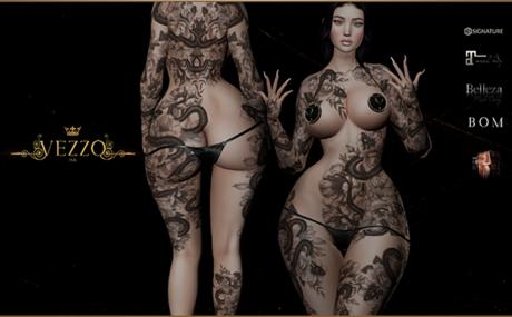 Sina Unisex Tattoo - Black, single colour, Maitreya, Legacy, INTHIUM KUPRA, Belleza, Signature, Omega, BOM - Vezzo Ink