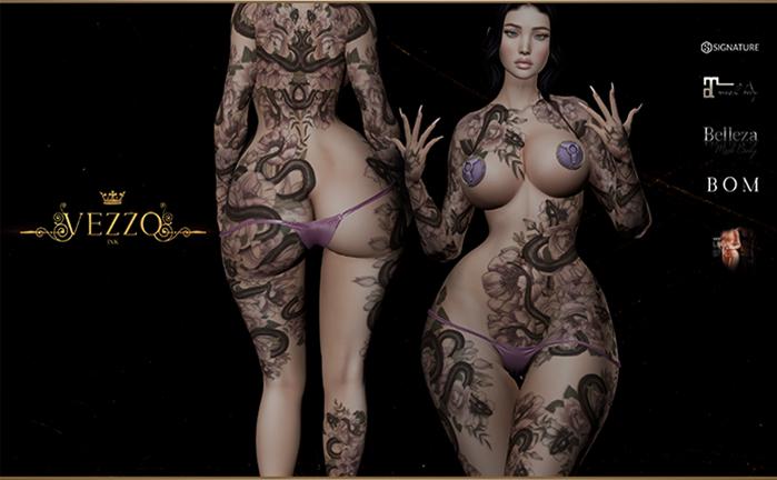 Sina Unisex Tattoo - Purple, single colour, Maitreya, Legacy, INTHIUM KUPRA, Belleza, Signature, Omega, BOM - Vezzo Ink