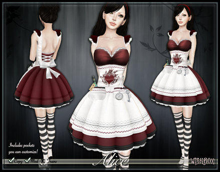 [Wishbox] Alice in Wonderland (Red) - EGL Goth Gothic Dark Alice Costume Dress! Valentine's Day Outfit