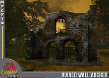 Ruined wall with arched window