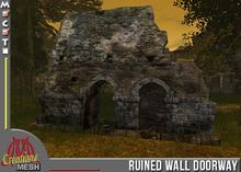 Ruined wall with door and blocked doorway