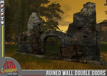 Ruined wall with double doors and big arched entrance