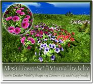 Mesh Flower Set Petunia by Felix 5 Shape=9 Colors=1 Li Each c-m