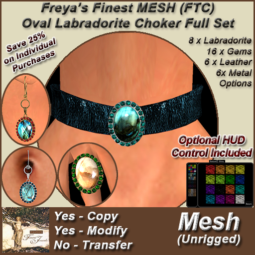 Freya's Finest MESH Labradorite Stone (Full Texture Change) Set