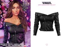 TETRA - Off-shoulder leather jacket (Black)