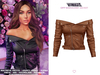 TETRA - Off-shoulder leather jacket (Brown)