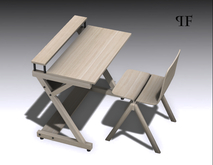 Desk set 013, PC stand with chair