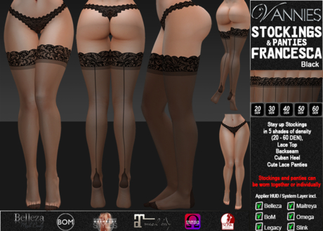 VANNIES Panties/ Stockings Francesca Black (Applier HUD + BoM) Belleza, Legacy, Maitreya, Slink, Omega + Classic Avatar