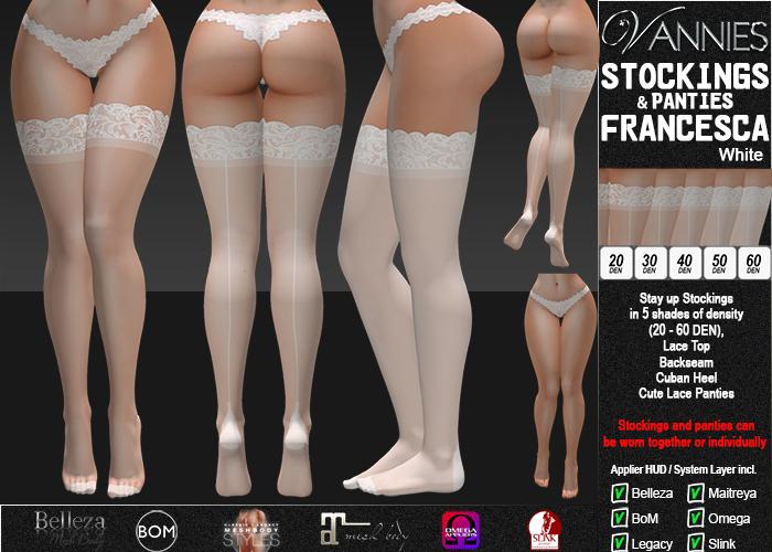 VANNIES Panties/ Stockings Francesca White (Applier HUD + BoM) Belleza, Legacy, Maitreya, Slink, Omega + Classic Avatar