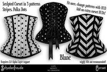 Schadenfreude Blanc Stripe & Polka Dots Corsets