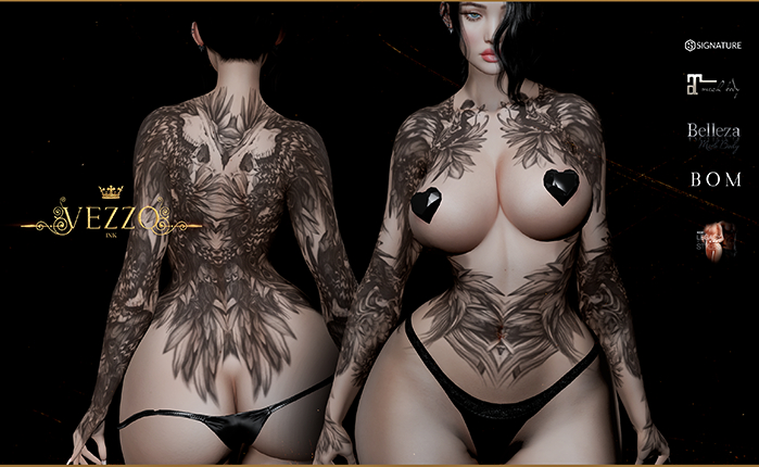Pagona Tattoo - Black, single color, Maitreya, Legacy, INTHIUM KUPRA, Belleza, Signature, Omega, BOM - Vezzo Ink
