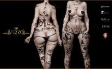 Sinful Angel - Black tattoo , single color, Maitreya, Legacy, INTHIUM KUPRA, Belleza, Signature, Omega, BOM - Vezzo Ink