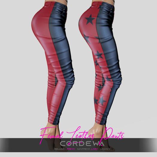 *CORDEWA* FEMALE SKINNY LEATHER PANTS RED
