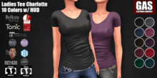 GAS [Ladies Tee Charlotte - All 10 Colors w/HUD FATPACK]