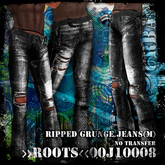 >>ROOTS<<00J10008 (Men's Black Ripped Grunge Jeans)