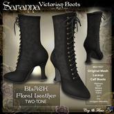 C&F Saranna Victorian Boots - Original Mesh - Floral Leather - Black