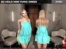 [S] Ceilo Mini Tunic Dress Cyan