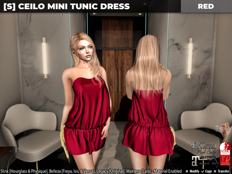 [S] Ceilo Mini Tunic Dress Red