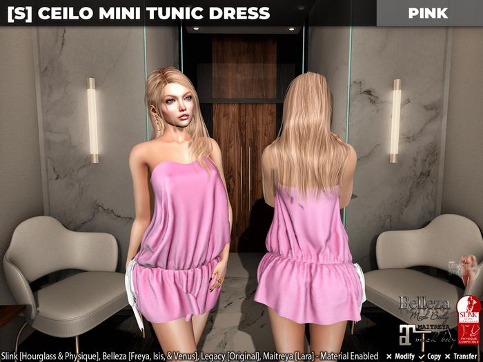 [S] Ceilo Mini Tunic Dress Pink