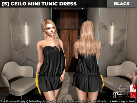 [S] Ceilo Mini Tunic Dress Black