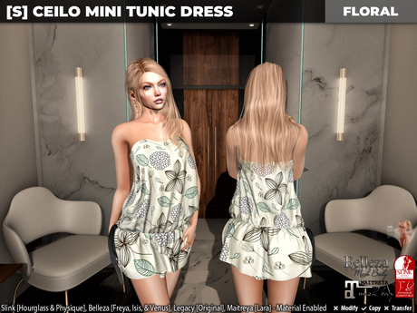 [S] Ceilo Mini Tunic Dress Floral