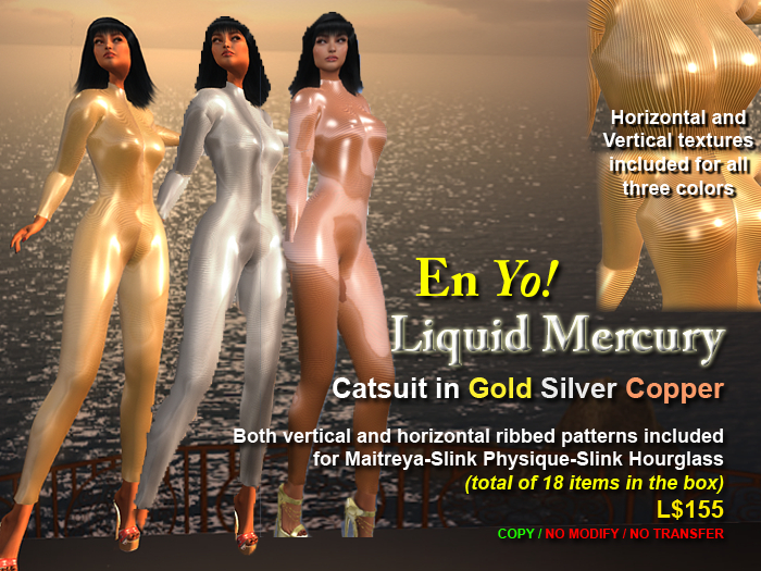 En Yo! Liquid Mercury Catsuits 3 Colors for Maitreya/Slink