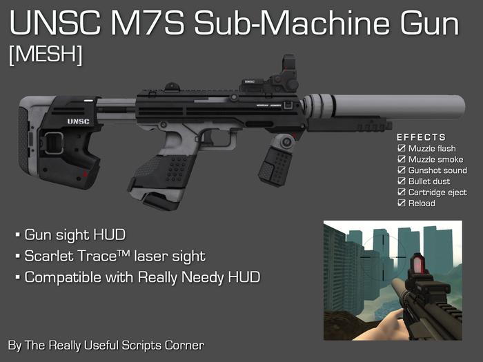 UNSC M7S Sub-Machine Gun with Laser Sight