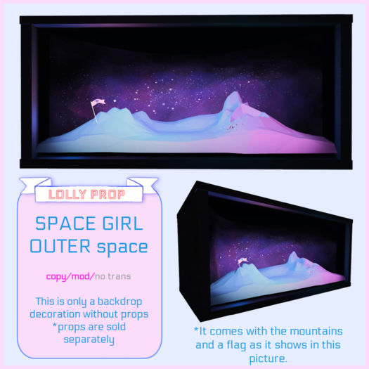 =LOLLY PROP=SPACE GIRL *OUTER SPACE backdrop*