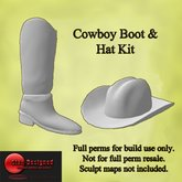 Sculpted Prim Cowboy Boot and hat Resale Kit