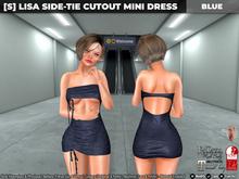 [S] Lisa Side-Tie Cutout Mini Dress Blue