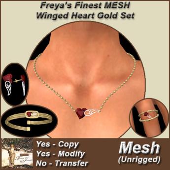 Freya's Finest Mesh Winged Heart Gold Set