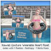 [: Kawaii Couture :] Polka Dot Heart Float - Black