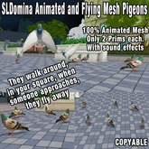 SLDomina Animated and Flyng Pigeons They walk around,  in your square, when someone approaches, they fly away with sound