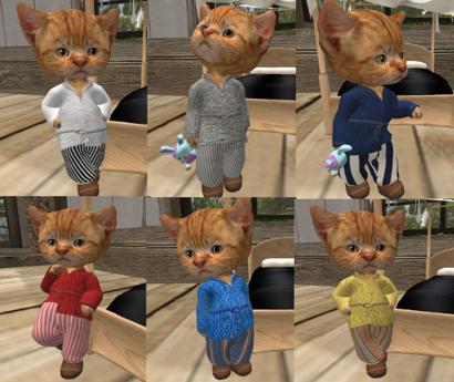 dinkie cats wearing sleepwear